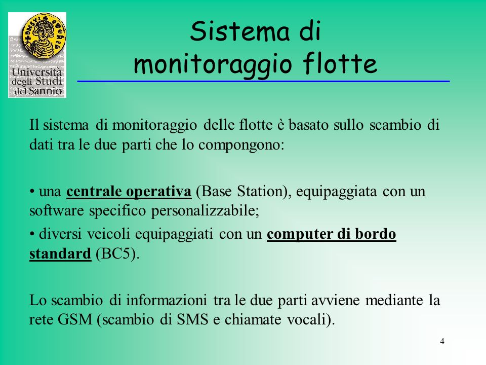 Sistema di monitoraggio flotte