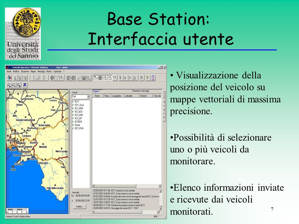 Base Station: Interfaccia utente