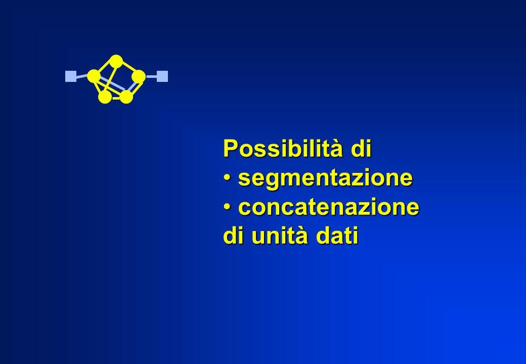 Possibilità di segmentazione concatenazione di unità dati