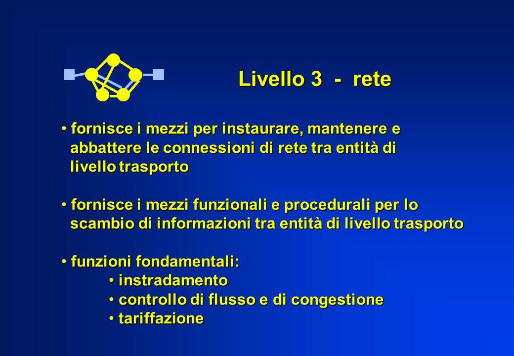 Livello 3 - rete fornisce i mezzi per instaurare, mantenere e
