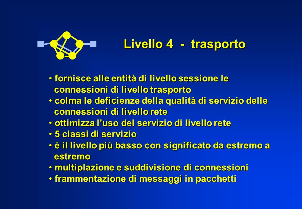 Livello 4 - trasporto fornisce alle entità di livello sessione le