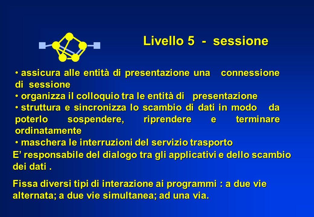 Livello 5 - sessione assicura alle entità di presentazione una connessione di sessione. organizza il colloquio tra le entità di presentazione.