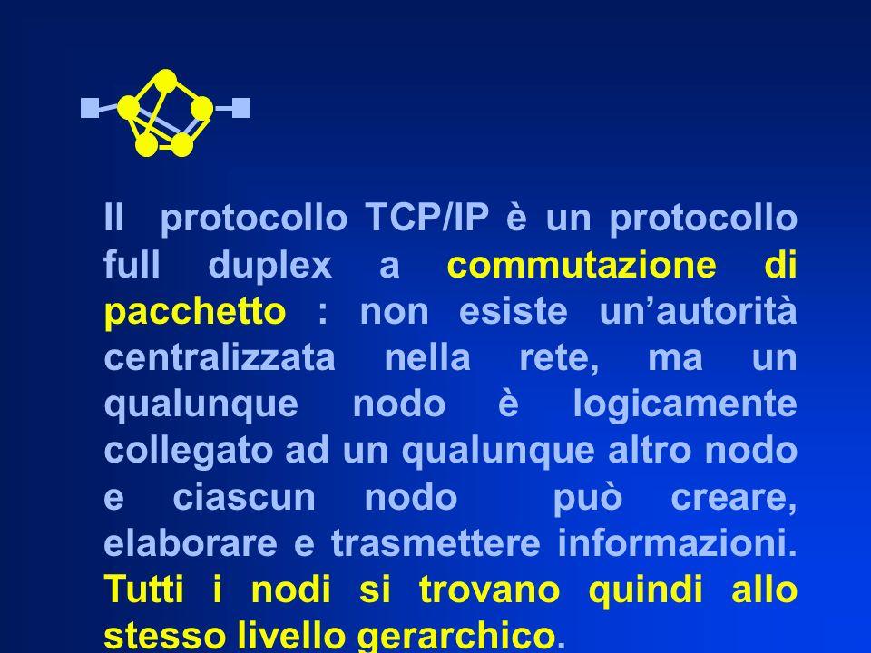 Il protocollo TCP/IP è un protocollo full duplex a commutazione di pacchetto : non esiste un'autorità centralizzata nella rete, ma un qualunque nodo è logicamente collegato ad un qualunque altro nodo e ciascun nodo può creare, elaborare e trasmettere informazioni.