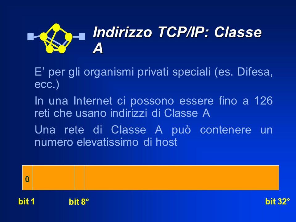Indirizzo TCP/IP: Classe A