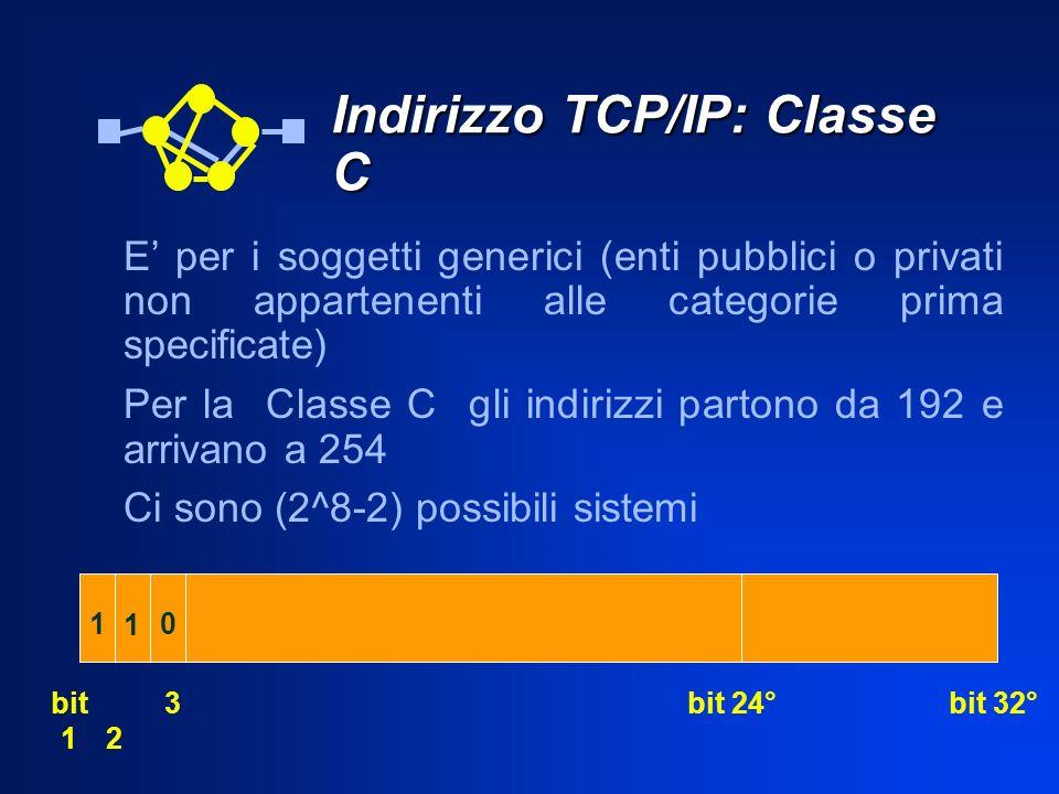 Indirizzo TCP/IP: Classe C