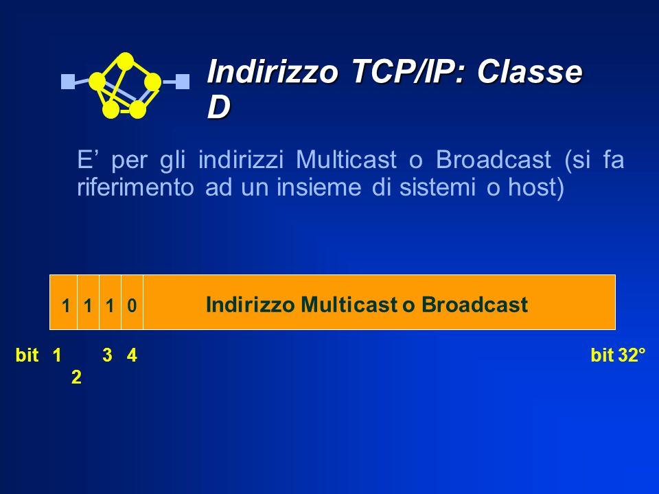 Indirizzo Multicast o Broadcast