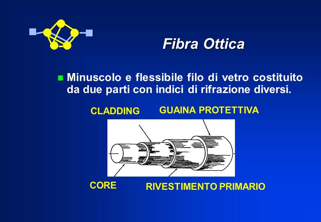 Fibra Ottica Minuscolo e flessibile filo di vetro costituito da due parti con indici di rifrazione diversi.