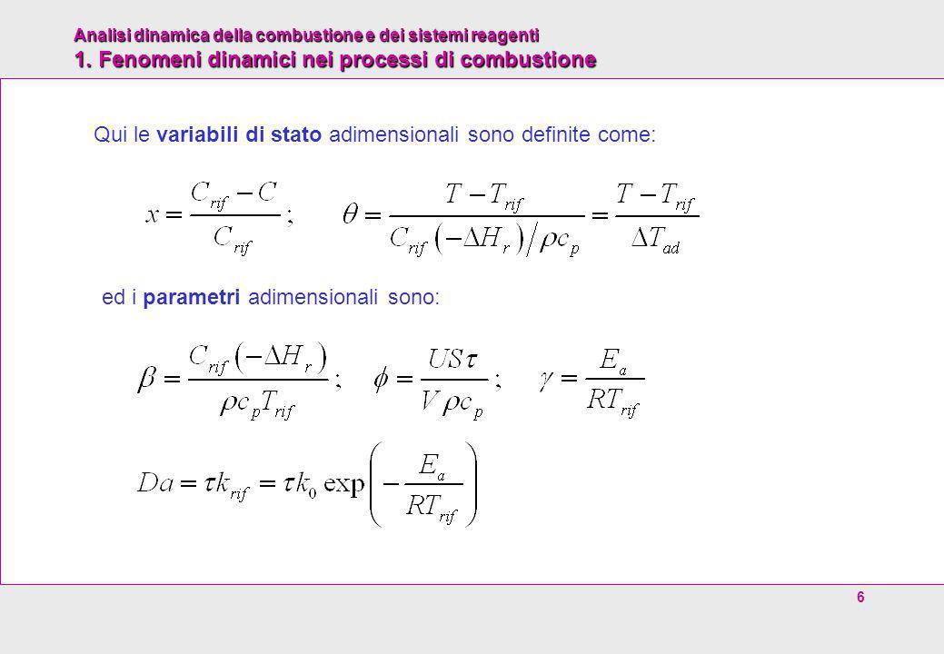Qui le variabili di stato adimensionali sono definite come: