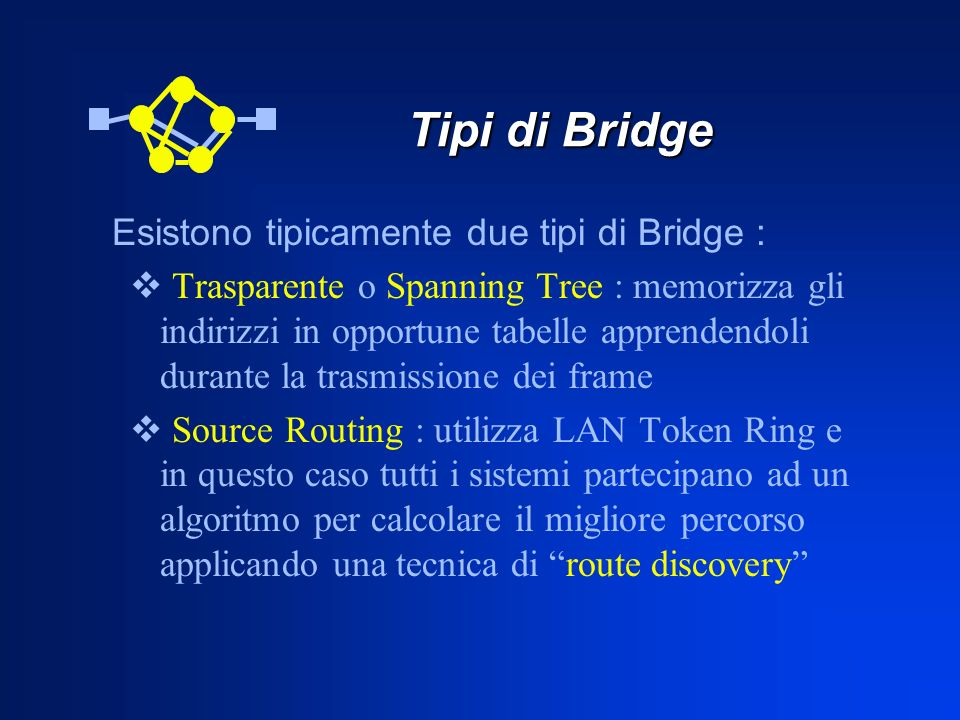 Tipi di Bridge Esistono tipicamente due tipi di Bridge :