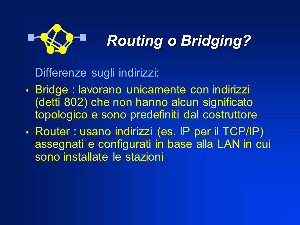 Routing o Bridging Differenze sugli indirizzi: