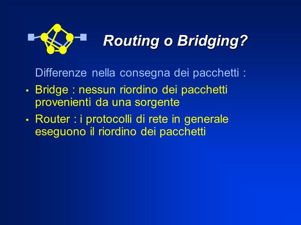 Routing o Bridging Differenze nella consegna dei pacchetti :