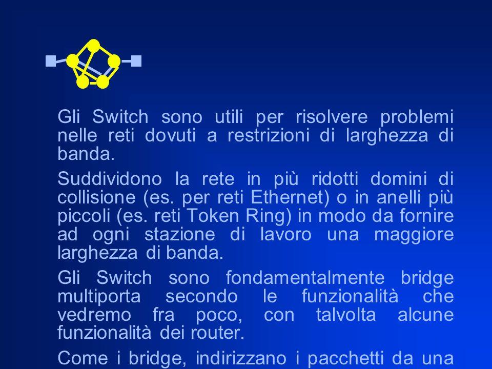 Gli Switch sono utili per risolvere problemi nelle reti dovuti a restrizioni di larghezza di banda.