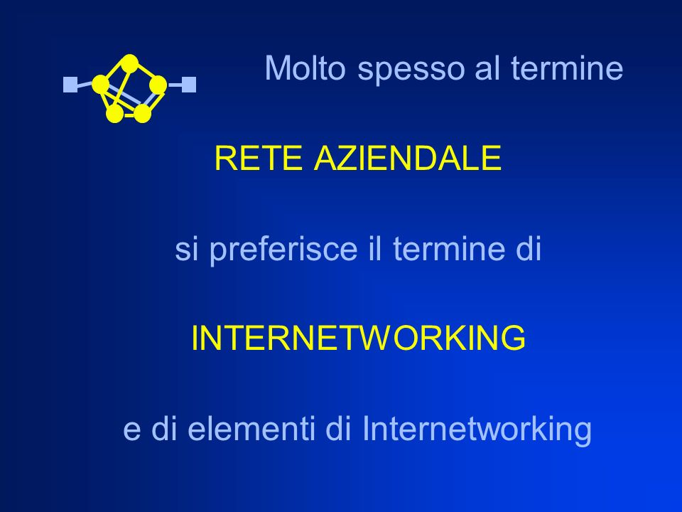 si preferisce il termine di INTERNETWORKING