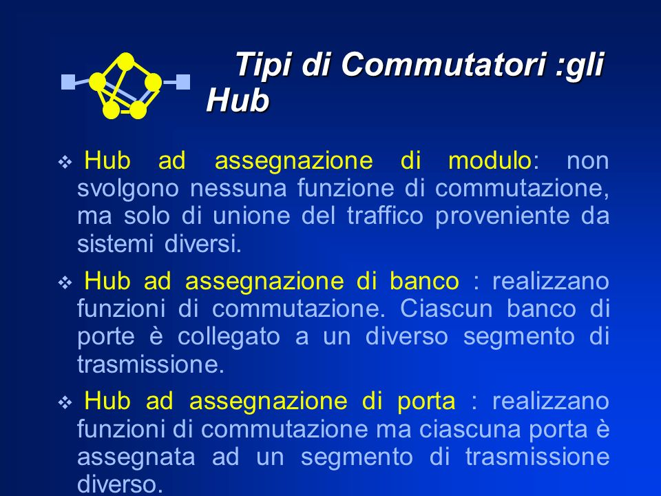 Tipi di Commutatori :gli Hub