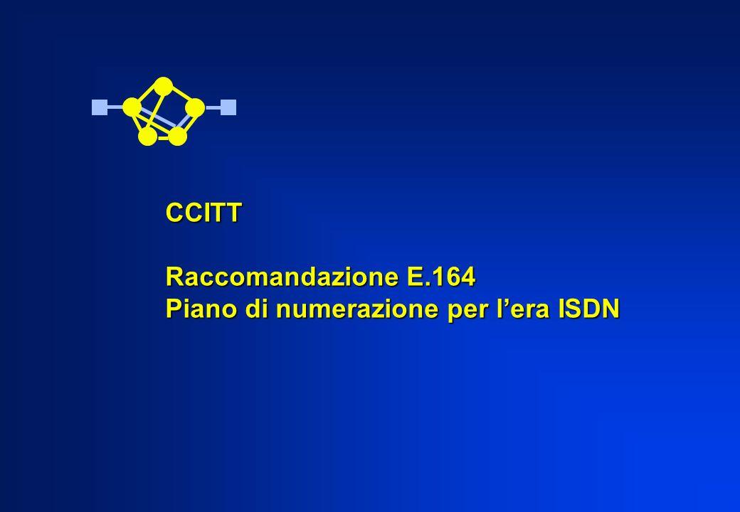 CCITT Raccomandazione E.164 Piano di numerazione per l'era ISDN
