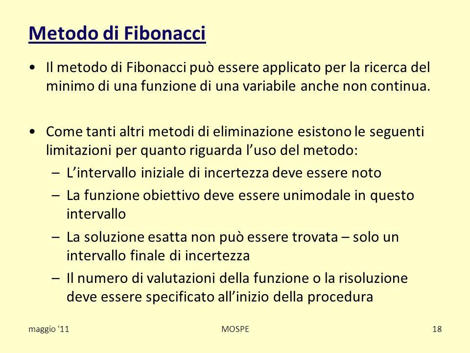 Metodo di Fibonacci Il metodo di Fibonacci può essere applicato per la ricerca del minimo di una funzione di una variabile anche non continua.