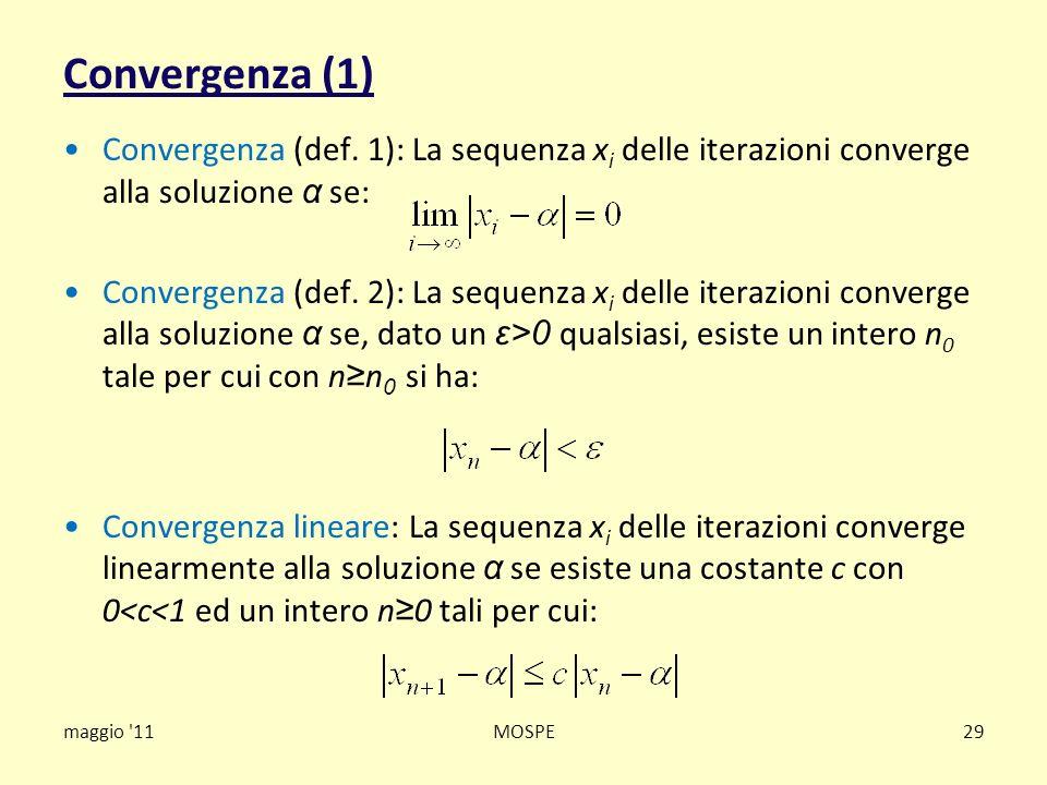 Convergenza (1) Convergenza (def. 1): La sequenza xi delle iterazioni converge alla soluzione α se: