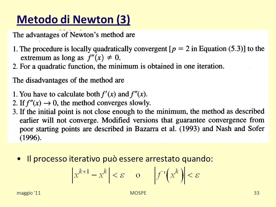 Metodo di Newton (3) Il processo iterativo può essere arrestato quando: maggio 11 MOSPE