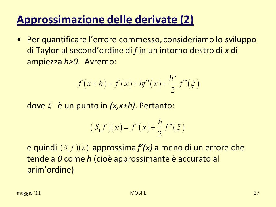 Approssimazione delle derivate (2)