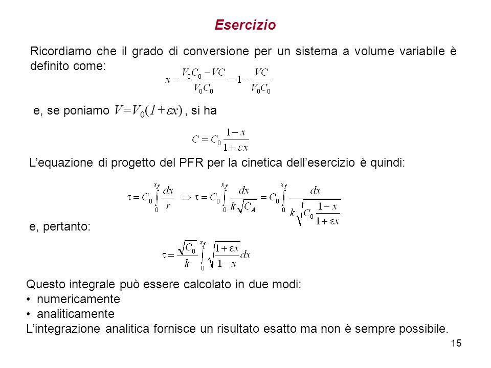 EsercizioRicordiamo che il grado di conversione per un sistema a volume variabile è definito come: e, se poniamo V=V0(1+x) , si ha.