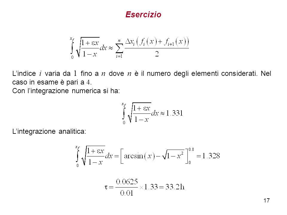 Esercizio L'indice i varia da 1 fino a n dove n è il numero degli elementi considerati. Nel caso in esame è pari a 4.