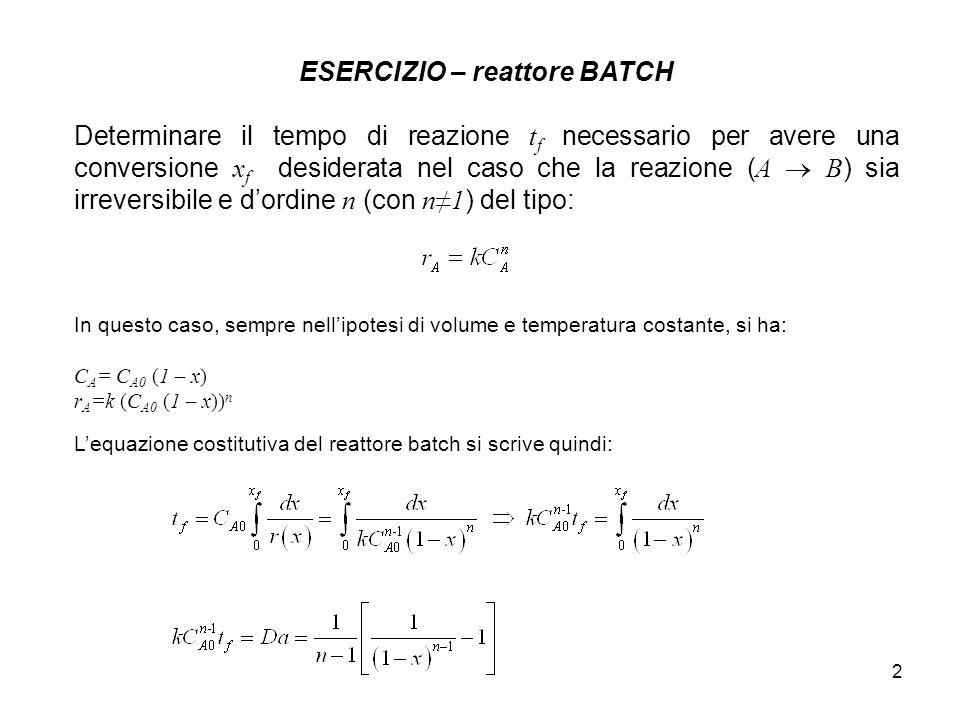 ESERCIZIO – reattore BATCH