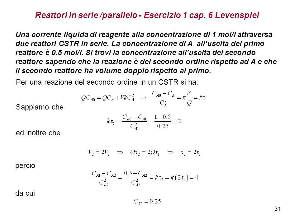 Reattori in serie /parallelo - Esercizio 1 cap. 6 Levenspiel