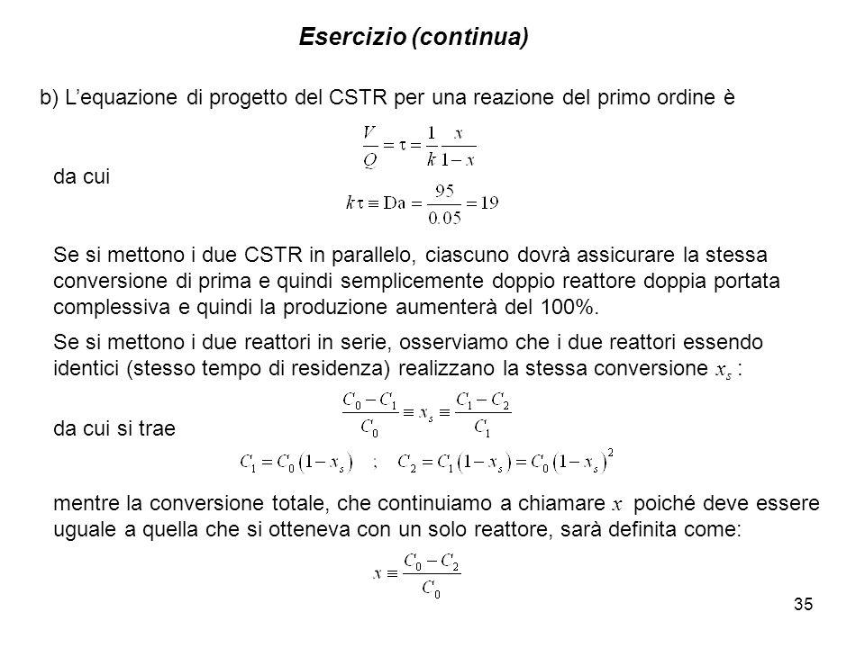 Esercizio (continua) b) L'equazione di progetto del CSTR per una reazione del primo ordine è. da cui.