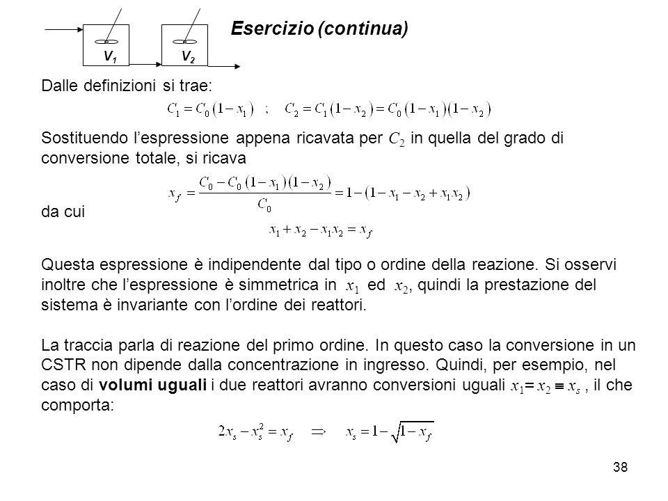 Esercizio (continua) Dalle definizioni si trae: