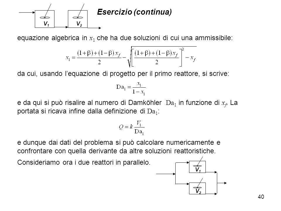 V1 V2. Esercizio (continua) equazione algebrica in x1 che ha due soluzioni di cui una ammissibile: