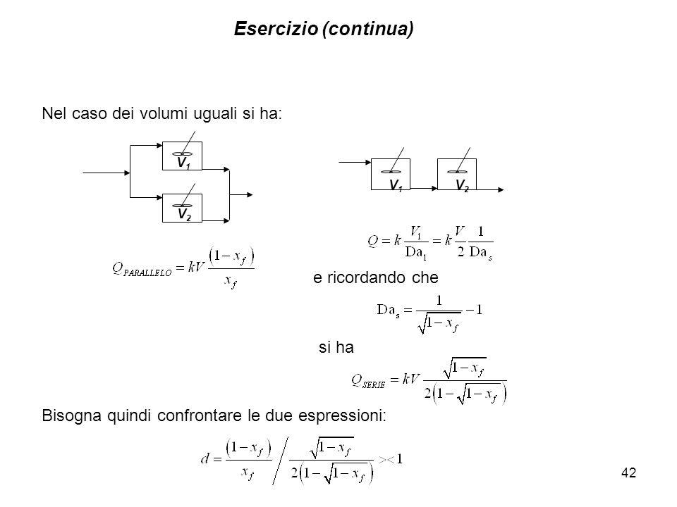 Esercizio (continua) Nel caso dei volumi uguali si ha: