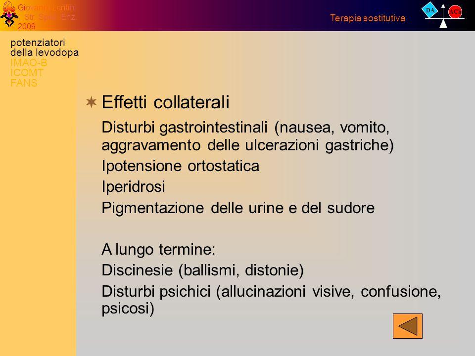 26/X/2002 DA. ACh. Terapia sostitutiva. potenziatori della levodopa IMAO-B ICOMT FANS. Effetti collaterali.