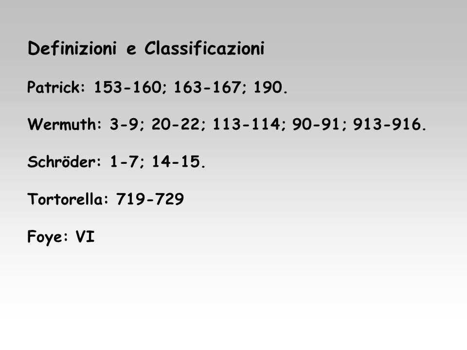 Definizioni e Classificazioni