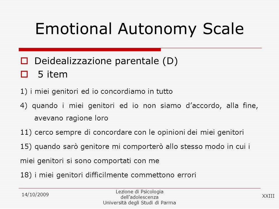 Emotional Autonomy Scale
