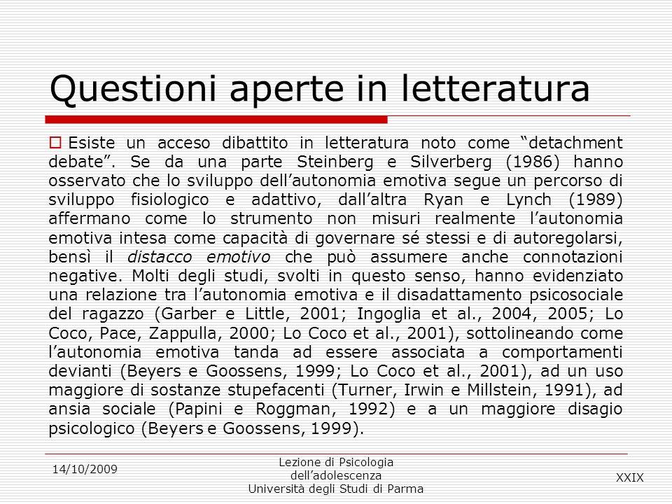 Questioni aperte in letteratura