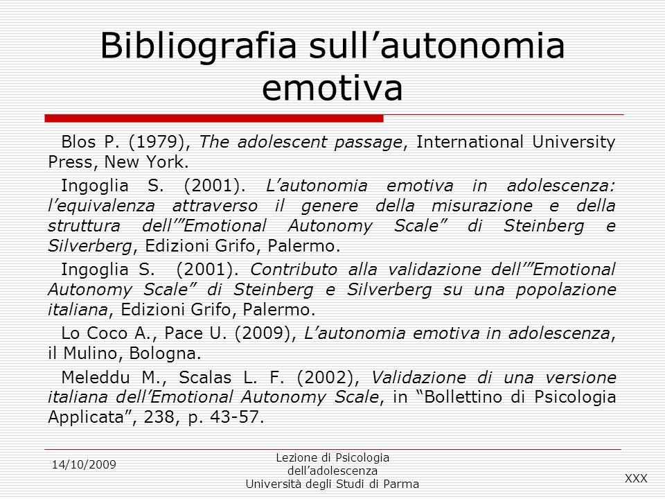 Bibliografia sull'autonomia emotiva