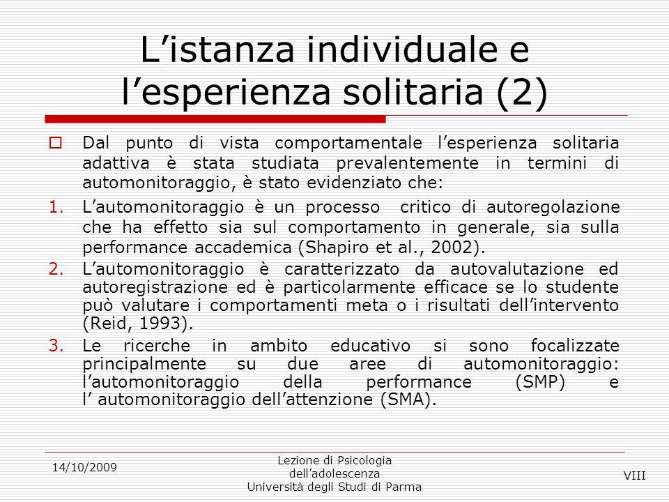 L'istanza individuale e l'esperienza solitaria (2)