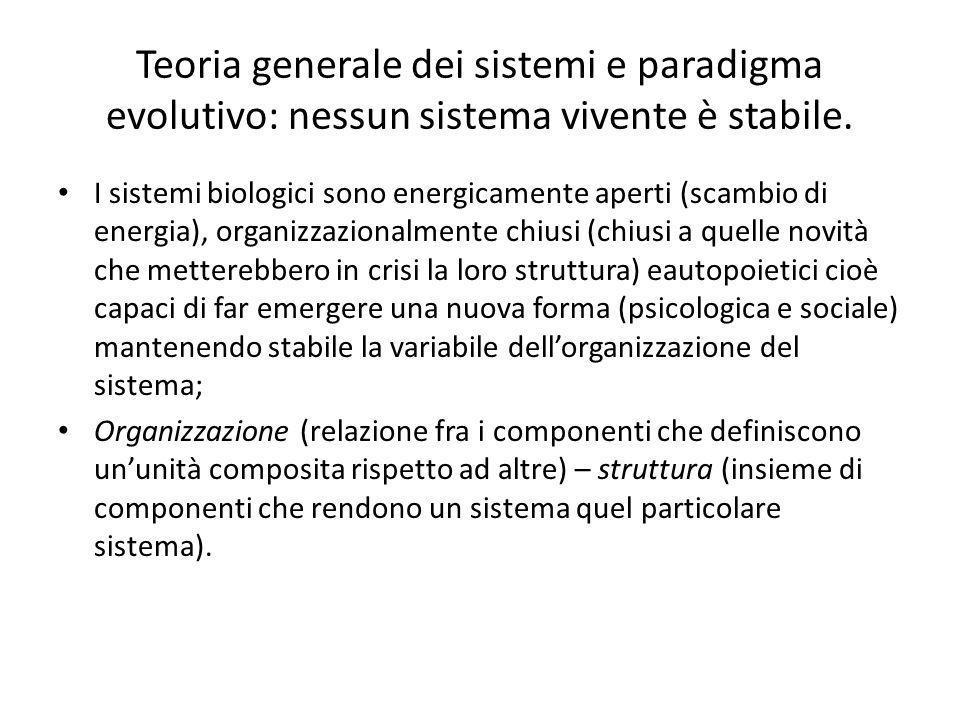 Teoria generale dei sistemi e paradigma evolutivo: nessun sistema vivente è stabile.