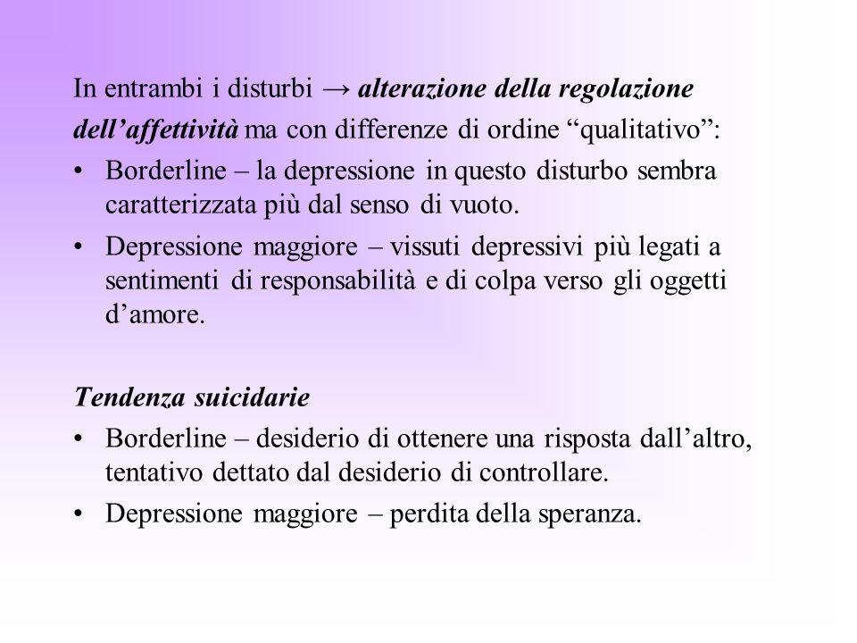 In entrambi i disturbi → alterazione della regolazione