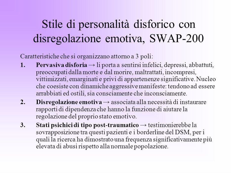 Stile di personalità disforico con disregolazione emotiva, SWAP-200