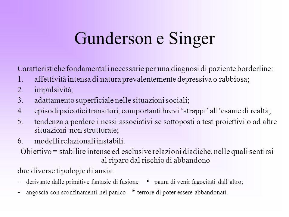 Gunderson e Singer Caratteristiche fondamentali necessarie per una diagnosi di paziente borderline:
