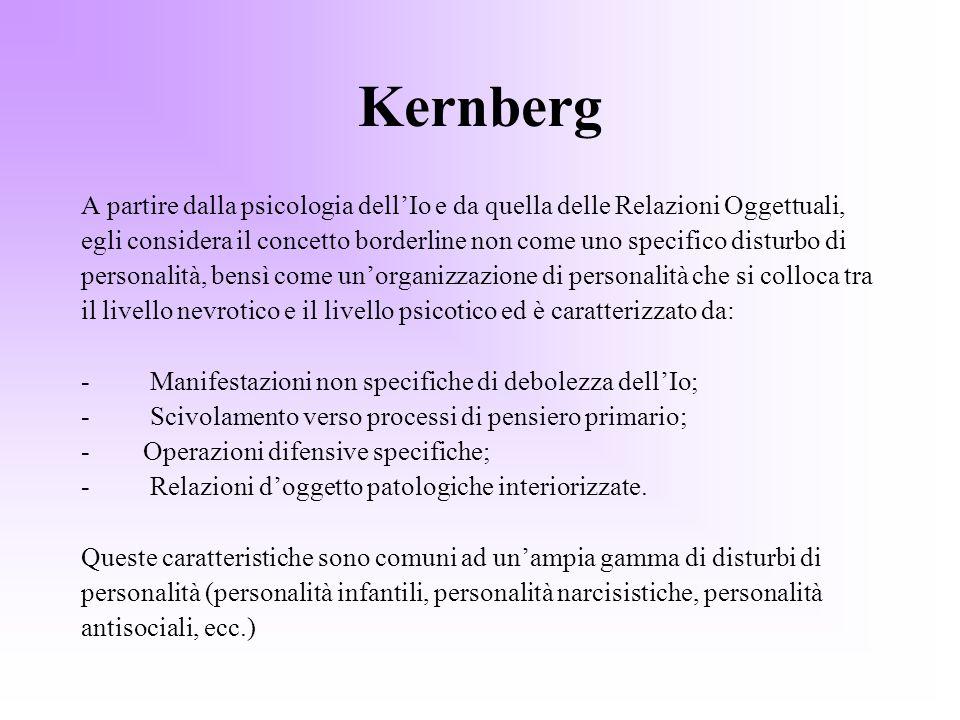 Kernberg A partire dalla psicologia dell'Io e da quella delle Relazioni Oggettuali,