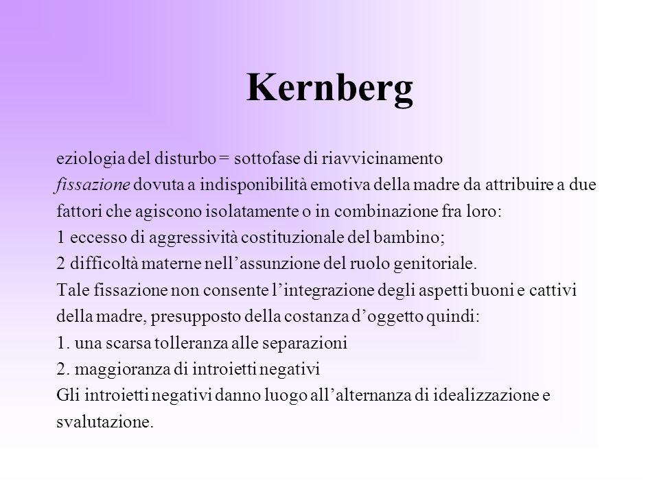 Kernberg eziologia del disturbo = sottofase di riavvicinamento