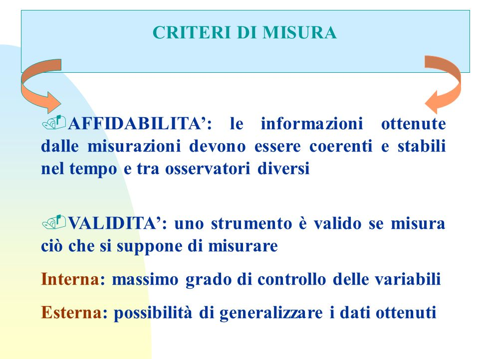 CRITERI DI MISURA AFFIDABILITA': le informazioni ottenute dalle misurazioni devono essere coerenti e stabili nel tempo e tra osservatori diversi.