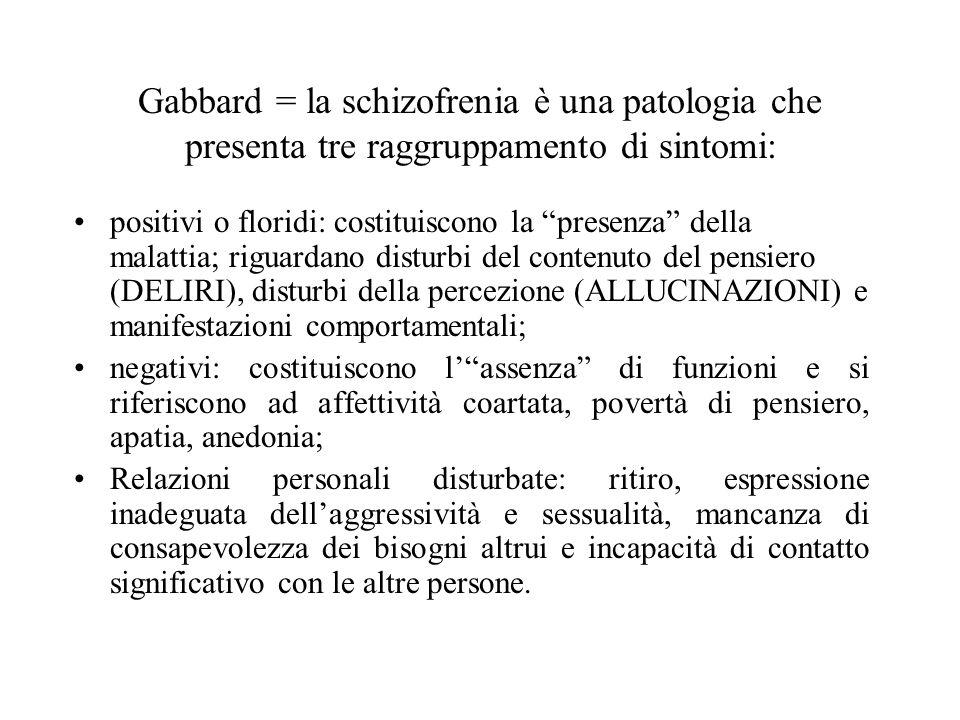 Gabbard = la schizofrenia è una patologia che presenta tre raggruppamento di sintomi: