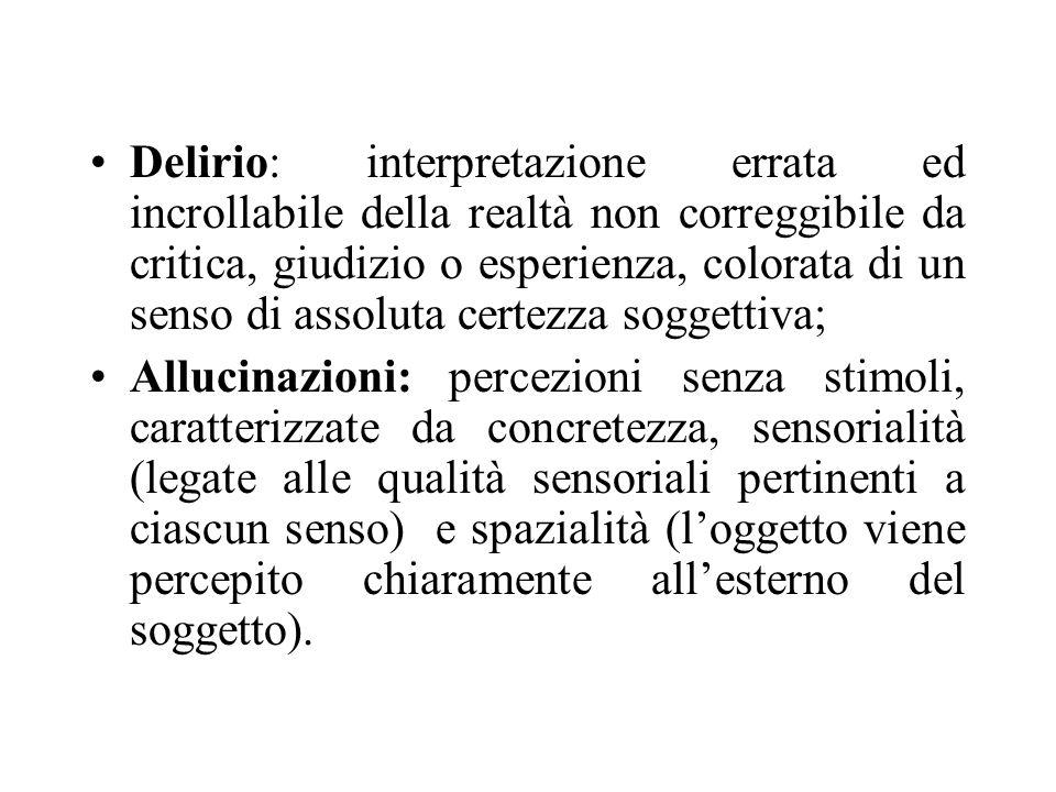 Delirio: interpretazione errata ed incrollabile della realtà non correggibile da critica, giudizio o esperienza, colorata di un senso di assoluta certezza soggettiva;