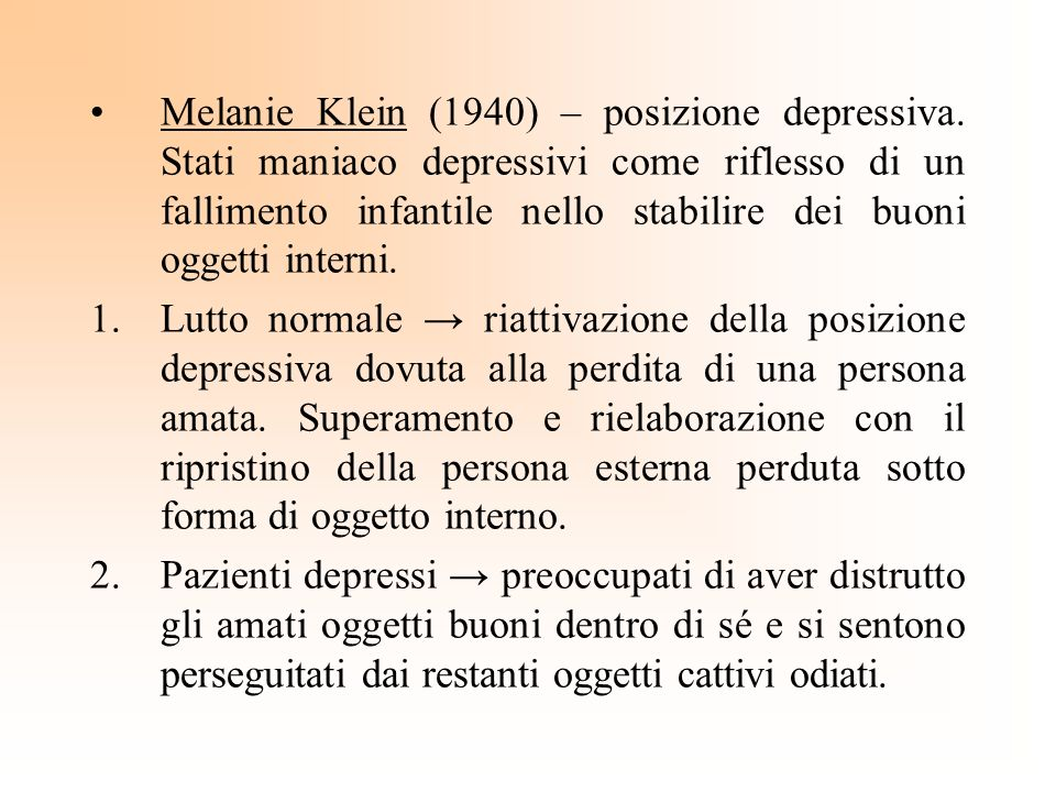 Melanie Klein (1940) – posizione depressiva