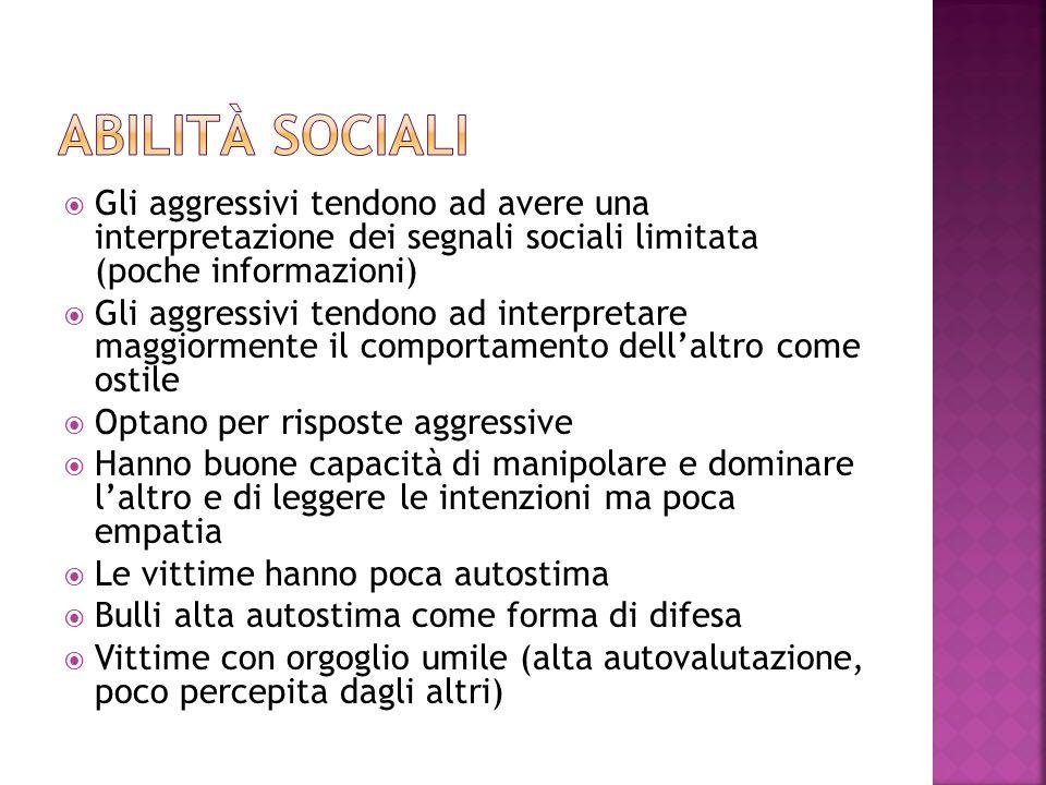 Abilità sociali Gli aggressivi tendono ad avere una interpretazione dei segnali sociali limitata (poche informazioni)