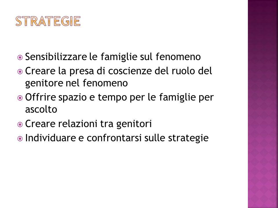 Strategie Sensibilizzare le famiglie sul fenomeno