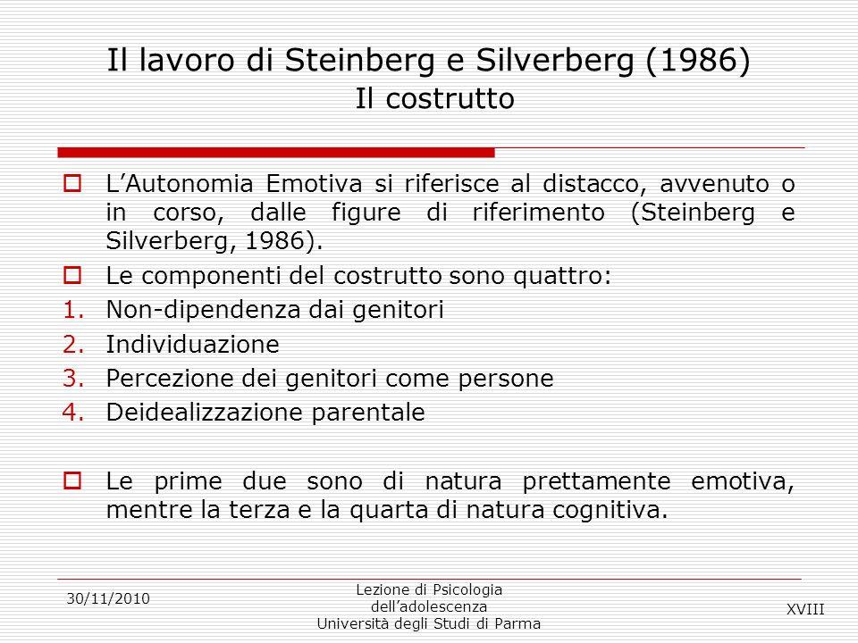 Il lavoro di Steinberg e Silverberg (1986) Il costrutto